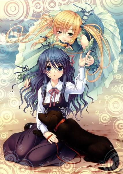 Tags: Anime, Sayori, NEKO WORKs 01, Pleut, Etoile (Sound Horizon), Fan Character, Animal on Lap, Mobile Wallpaper, Roman (Sound Horizon), Pixiv, Sound Horizon