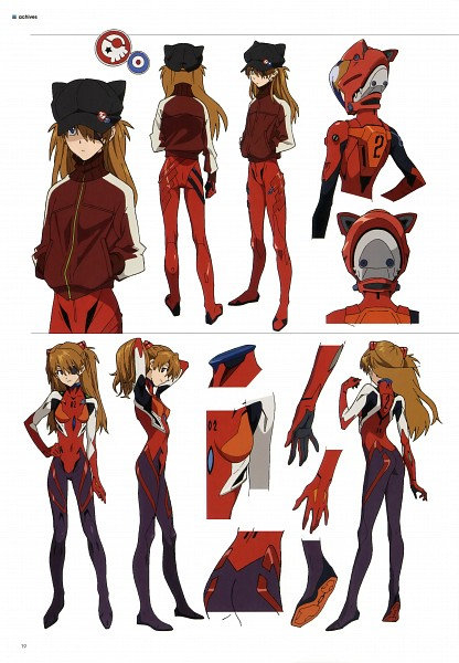 Tags: Anime, Neon Genesis Evangelion, Evangelion 3.0 Theatrical Booklet, Souryuu Asuka Langley, Cat Hat, Mobile Wallpaper, Character Sheet, Scan, Official Art, Asuka Langley Soryu