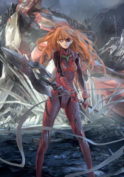 Tags: Anime, Archlich, Neon Genesis Evangelion, Souryuu Asuka Langley, Eva 02, Spear of Cassius, Mecha Outfit, Mobile Wallpaper, Fanart, deviantART, PNG Conversion, Pixiv, Asuka Langley Soryu