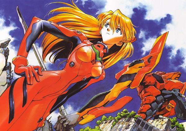 Tags: Anime, Yoshiyuki Sadamoto, Neon Genesis Evangelion, Der Mond, Eva 02, Souryuu Asuka Langley, Scan, Official Art, Asuka Langley Soryu