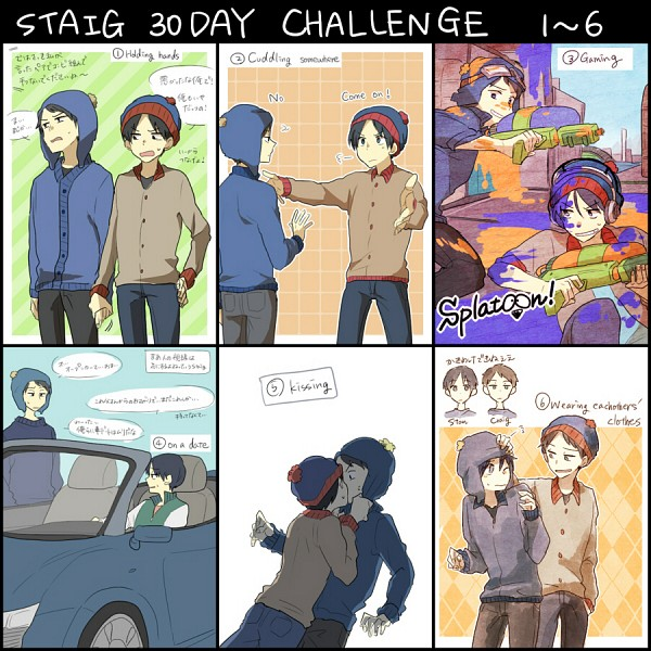 Tags: Anime, Pixiv Id 5577563, South Park, Craig Tucker, Stanley Randall Marsh, Text: Couple Name, Paintball, Fanart From Pixiv, Pixiv, Translation Request, Fanart