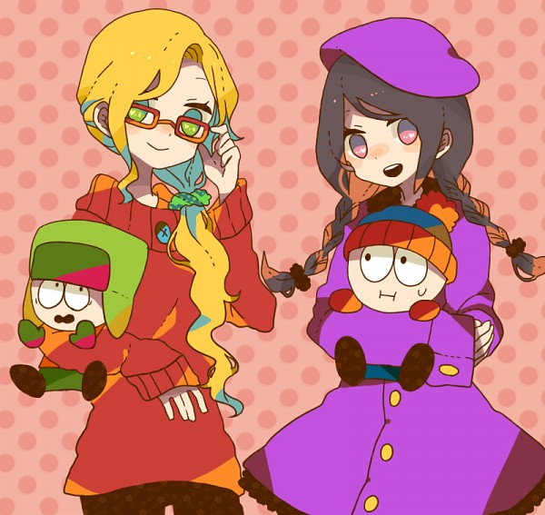 Tags: Anime, Maco22, South Park, Bebe Stevens, Wendy Testaburger, Kyle Broflovski, Stanley Randall Marsh, Ushanka, Purple Hat, Purple Headwear, Pixiv, Fanart, Fanart From Pixiv