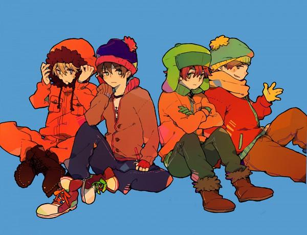 Tags: Anime, Pikaro, South Park, Stanley Randall Marsh, Eric Theodore Cartman, Kyle Broflovski, Kenneth McCormick, Brown Jacket, Yellow Gloves, Orange Outerwear, Green Gloves, Yellow Handwear, Orange Jacket