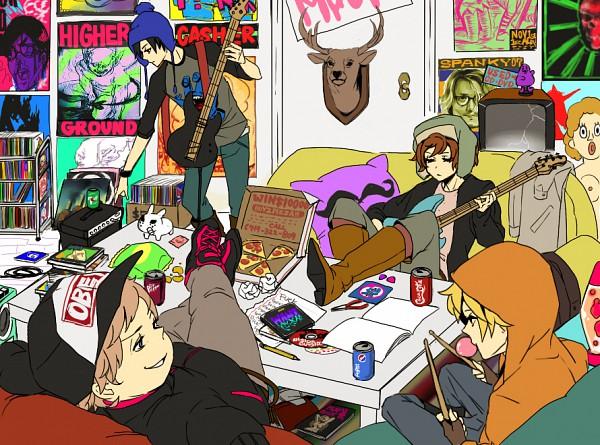 Tags: Anime, Gori, South Park, Eric Theodore Cartman, Kyle Broflovski, Kenneth McCormick, Stanley Randall Marsh, Craig Tucker, Feet On Table, Pizza, Chips, Poster (Object), Drumsticks