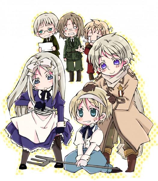 Tags: Anime, Azu (Pixiv ID 364989), Kuroharu, Axis Powers: Hetalia, Latvia, Belarus, Lithuania, Ukraine, Poland, Russia, Estonia, Fanart, Pixiv