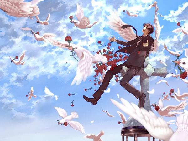 Tags: Anime, Ao (Pixiv452643), Axis Powers: Hetalia, Spain, Carnation, Pixiv, Fanart, Mediterranean Countries