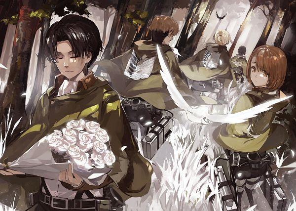 Tags: Anime, Saberiii, Attack on Titan, Petra Ral, Levi Ackerman, Gunter Schulz, Auruo Bossard, Erd Gin, Fanart From Pixiv, PNG Conversion, Pixiv, Fanart, Special Operations Squad