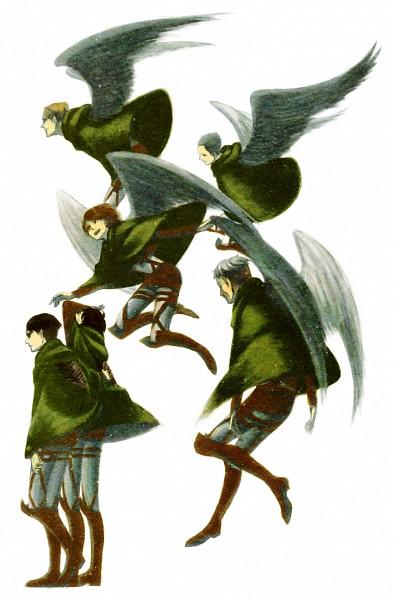 Tags: Anime, MATITOSORAaruf, Attack on Titan, Auruo Bossard, Erd Gin, Petra Ral, Eren Jaeger, Gunter Schulz, Levi Ackerman, Green Cape, Covering Face, Pixiv, Mobile Wallpaper