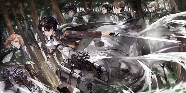 Tags: Anime, Saberiii, Attack on Titan, Levi Ackerman, Auruo Bossard, Erd Gin, Petra Ral, Eren Jaeger, Gunter Schulz, Wallpaper, Fanart, Facebook Cover, Fanart From Pixiv