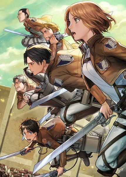 Tags: Anime, Sine, Attack on Titan, Eren Jaeger, Gunter Schulz, Levi Ackerman, Auruo Bossard, Erd Gin, Petra Ral, Pixiv, Fanart, Fanart From Pixiv, Mobile Wallpaper