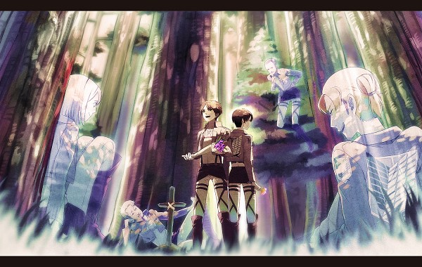 Tags: Anime, Akiakane, Attack on Titan, Erd Gin, Petra Ral, Eren Jaeger, Gunter Schulz, Levi Ackerman, Auruo Bossard, Peaceful, Under A Tree, Revision, Pixiv