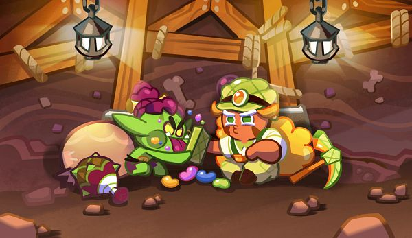 Tags: Anime, Devsisters, Cookie Run: OvenBreak, Cookie Run, Goblin Cookie, Melon Bun Cookie, Cave, Mine, Goblin, Miner, Spelunking Expeditions, Official Art, Twitter