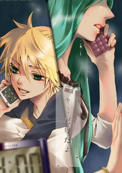 Tags: Anime, Hakuseki, VOCALOID, Hatsune Miku, Kagamine Len, Mobile Wallpaper, Spice!
