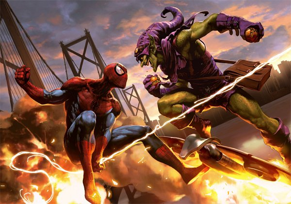 Tags: Anime, Spider-Man, Spider-Man (Character), Green Goblin, Swing, Fanart From Tumblr, Tumblr, Fanart, Artist Request