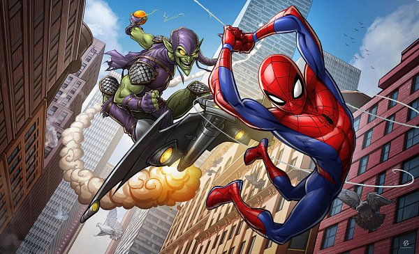 Tags: Anime, Patrick Brown, Spider-Man, Spider-Man (Character), Green Goblin, White Bird, Swing, Fanart From DeviantART, deviantART, Fanart, Marvel