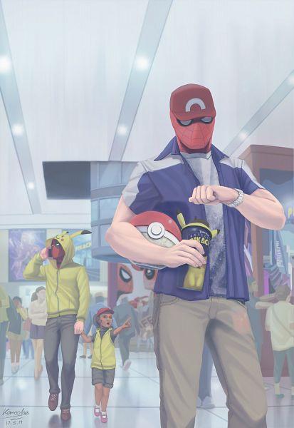 Tags: Anime, Pixiv Id 4839294, Spider-Man, Detective Pikachu, Pokémon, Deadpool (Wade Wilson), Spider-Man (Character), Pokéball Mug, Waiting, Movie Theater, Pikachu (Cosplay), Pokémon (Cosplay), Poster (Object)