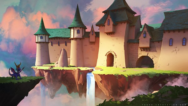 Tags: Anime, Sylvain Sarrailh, The Legend Of Spyro, Spyro The Dragon, Waterfall, Dragon Wings, Floating Island, Fanart, ArtStation, Facebook Cover