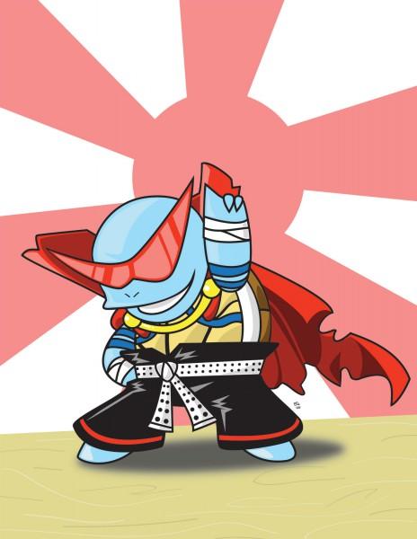 Tags: Anime, Pokémon, Squirtle, Kamina (Tengen Toppa Gurren-Lagann) (Cosplay), Rising Sun Motif, Artist Request