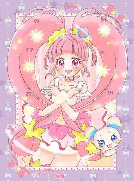 Tags: Anime, Satou Shioko, Star☆Twinkle Precure, Hoshina Hikaru, Cure Star, Fuwa (Precure), Upscale, Fanart, Twitter