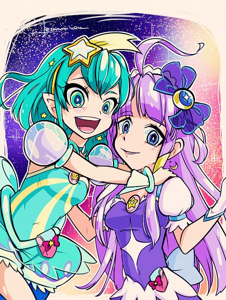 Tags: Anime, The Star Samurai, Star☆Twinkle Precure, Cure Milky, Kaguya Madoka, Hagorumo Lala, Cure Selene, Aqua Dress, Fanart From Pixiv, Pixiv, Fanart, Twitter