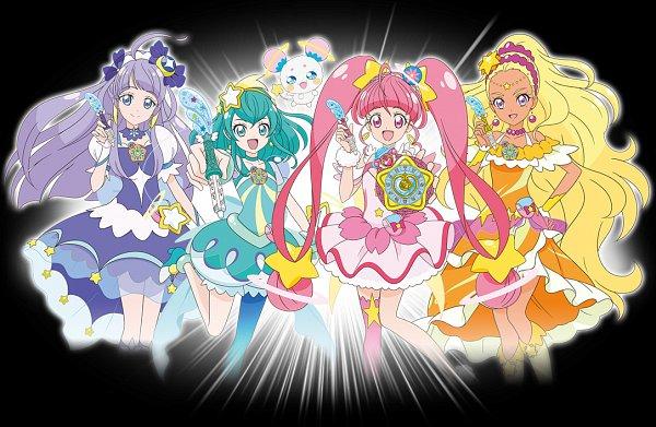 Tags: Anime, Star☆Twinkle Precure, Hoshina Hikaru, Fuwa (Precure), Cure Selene, Kaguya Madoka, Cure Soleil, Amamiya Erena, Cure Milky, Hagorumo Lala, Cure Star, Official Art