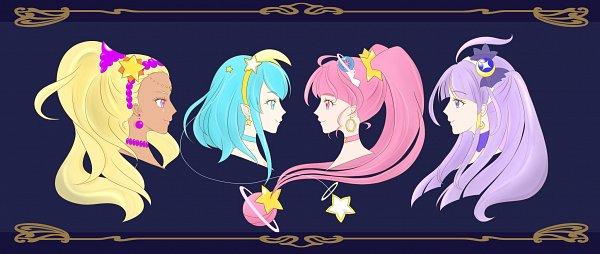 Tags: Anime, Mimicoro, Star☆Twinkle Precure, Kaguya Madoka, Cure Soleil, Amamiya Erena, Cure Milky, Hagoromo Lala, Cure Star, Hoshina Hikaru, Cure Selene, Twitter, Fanart