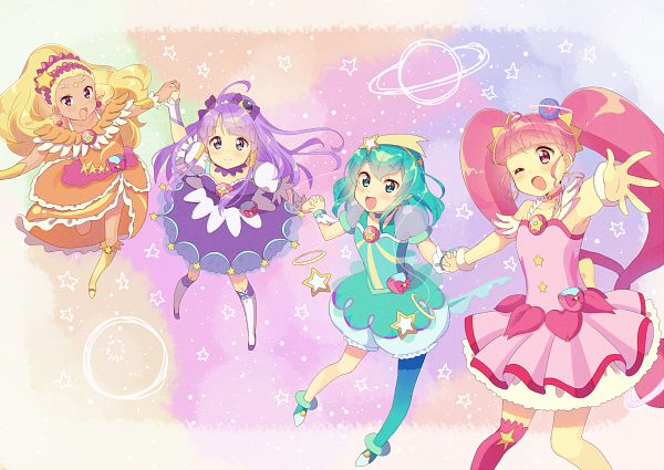 Tags: Anime, Pixiv Id 30149051, Star☆Twinkle Precure, Hoshina Hikaru, Cure Selene, Kaguya Madoka, Cure Soleil, Amamiya Erena, Cure Milky, Hagorumo Lala, Cure Star, Fanart From Pixiv, Pixiv