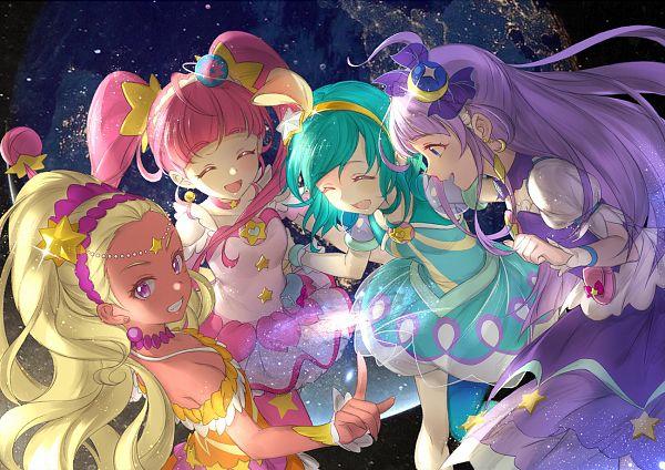 Tags: Anime, Xing, Star☆Twinkle Precure, Hoshina Hikaru, Cure Selene, Kaguya Madoka, Cure Soleil, Amamiya Erena, Cure Milky, Hagoromo Lala, Cure Star, Aqua Dress, Pixiv