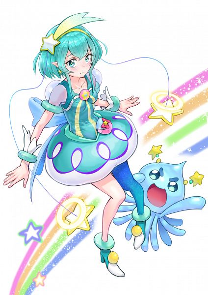Tags: Anime, Pixiv Id 23816107, Star☆Twinkle Precure, Prunce, Hagorumo Lala, Cure Milky, Aqua Dress, Fanart From Pixiv, Pixiv, Fanart