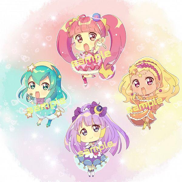 Tags: Anime, Pixiv Id 30149051, Star☆Twinkle Precure, Cure Star, Hoshina Hikaru, Cure Selene, Kaguya Madoka, Cure Soleil, Amamiya Erena, Cure Milky, Hagorumo Lala, Aqua Dress, Fanart