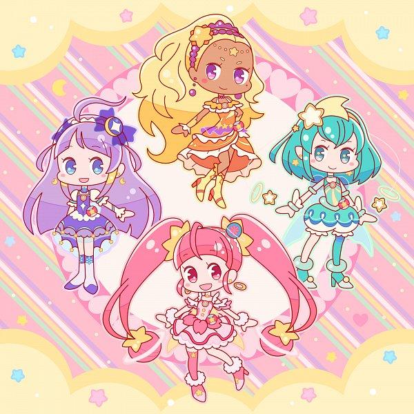 Tags: Anime, Pixiv Id 4571720, Star☆Twinkle Precure, Hagorumo Lala, Cure Star, Hoshina Hikaru, Cure Selene, Kaguya Madoka, Cure Soleil, Amamiya Erena, Cure Milky, Pixiv, Fanart