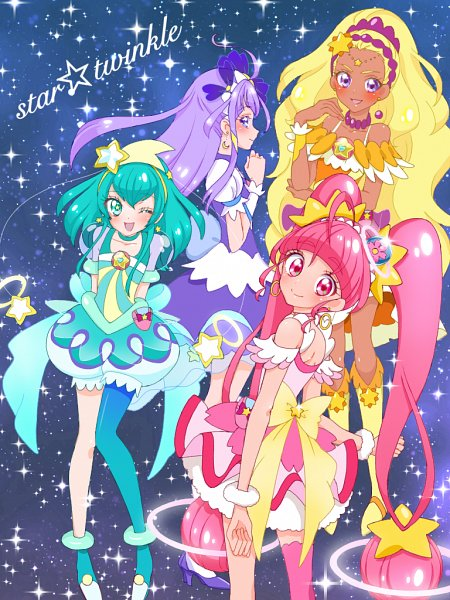 Tags: Anime, Pixiv Id 32013370, Star☆Twinkle Precure, Hoshina Hikaru, Cure Selene, Kaguya Madoka, Cure Soleil, Amamiya Erena, Cure Milky, Hagorumo Lala, Cure Star, Fanart, Fanart From Pixiv