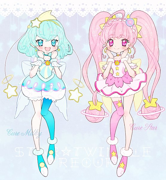 Tags: Anime, Pixiv Id 23770835, Star☆Twinkle Precure, Hoshina Hikaru, Cure Milky, Cure Star, Hagorumo Lala, Fanart From Pixiv, Pixiv, Fanart