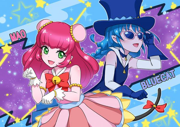 Tags: Anime, Crazypen, Star☆Twinkle Precure, Yuni (Precure), Kaitou Blue Cat, Mao (Precure), Fanart From Pixiv, Pixiv, Fanart