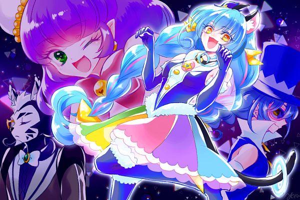 Tags: Anime, Pixiv Id 25131095, Star☆Twinkle Precure, Mao (Precure), Cure Cosmo, Bakenyan, Yuni (Precure), Kaitou Blue Cat, 1200x800 Wallpaper, Fanart, Fanart From Pixiv, Pixiv, Wallpaper