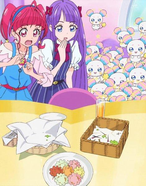 Tags: Anime, Toei Animation, Star☆Twinkle Precure, Fuwa (Precure), Kaguya Madoka, Hoshina Hikaru, Stitched Screenshot, Screenshot