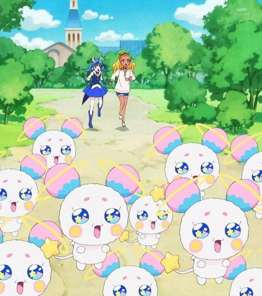 Tags: Anime, Toei Animation, Star☆Twinkle Precure, Yuni (Precure), Fuwa (Precure), Amamiya Erena, Stitched Screenshot, Screenshot