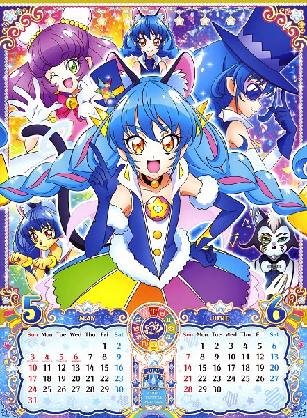 Tags: Anime, Takahashi Akira, Toei Animation, Star☆Twinkle Precure, Cure Cosmo, Bakenyan, Yuni (Precure), Kaitou Blue Cat, Mao (Precure), Gold Skin, Official Art, Calendar 2020, Scan