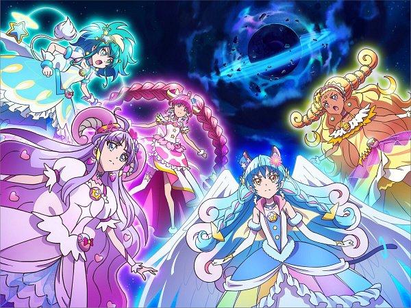 Tags: Anime, Toei Animation, Star☆Twinkle Precure, Cure Cosmo, Cure Selene, Kaguya Madoka, Cure Soleil, Amamiya Erena, Cure Milky, Hagoromo Lala, Cure Star, Yuni (Precure), Hoshina Hikaru