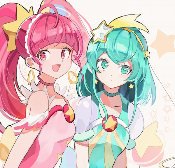 Tags: Anime, joman, Star☆Twinkle Precure, Hagoromo Lala, Hoshina Hikaru, Cure Milky, Cure Star, Fanart, Fanart From Pixiv, PNG Conversion, Pixiv