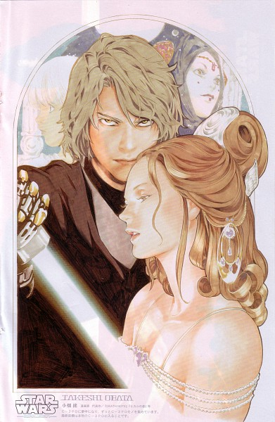 Tags: Anime, Obata Takeshi, Star Wars, Padmé Amidala, Anakin Skywalker, Mechanical Arm, Glowing Weapons, Prosthesis, Eyes Half Closed, Fanart, Mobile Wallpaper