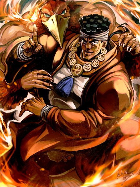 Tags: Anime, Pixiv Id 203656, JoJo no Kimyou na Bouken, Stardust Crusaders, Mohammed Avdol, Magician's Red, Ankh (Object), Mobile Wallpaper, Fanart