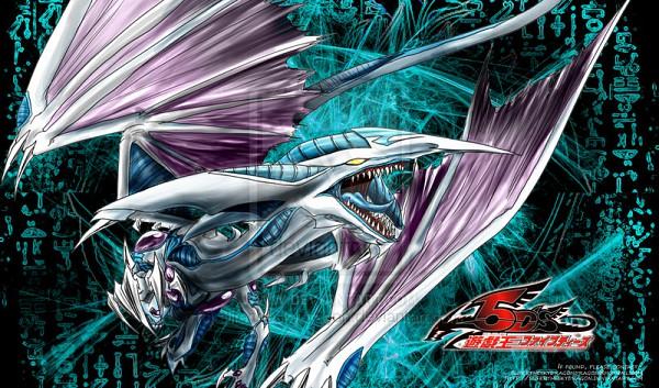 Tags: Anime, Yu-Gi-Oh! 5D's, Yu-Gi-Oh!, Stardust Dragon, Unusual Colored Tongue, Purple Gem