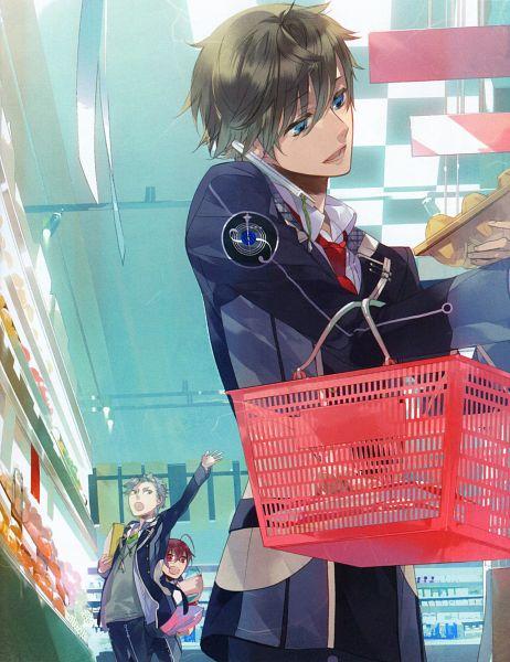 Tags: Anime, Kazuaki, Starry☆Sky~ Original Pin-up Book, Starry☆Sky~, Tomoe Yoh, Nanami Kanata (Starry☆Sky), Tohzuki Suzuya, Groceries, Market, Shopping, Scan, Official Art, Starry☆Sky ~in Winter~