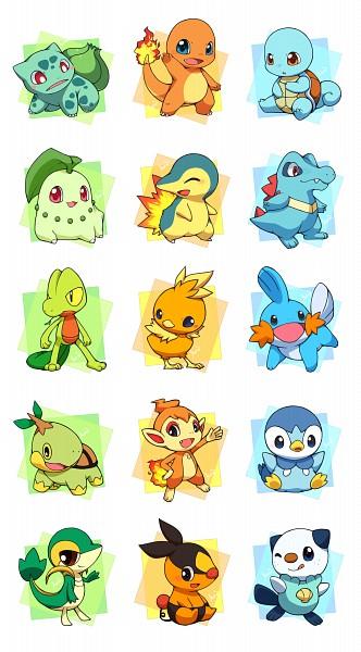 Tags: Anime, Pixiv Id 763010, Pokémon, Piplup, Torchic, Chikorita, Oshawott, Turtwig, Charmander, Tepig, Bulbasaur, Mudkip, Chimchar