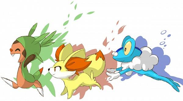 Tags: Anime, Semicha Keisuke, Pokémon, Fennekin, Chespin, Froakie, Wallpaper, Fanart, Fanart From Pixiv, Pixiv, Starter Pokémon