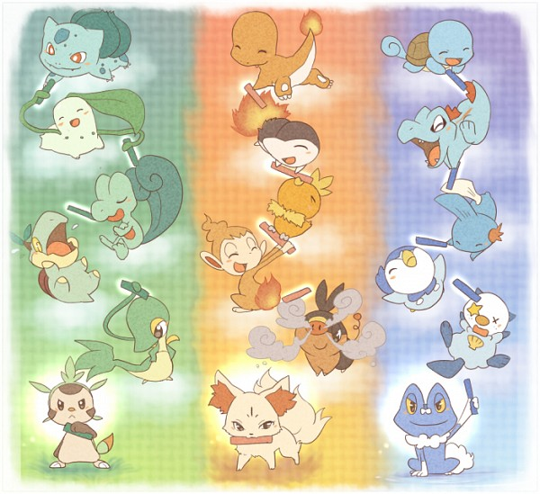Tags: Anime, Pixiv Id 216893, Pokémon, Mudkip, Chimchar, Chespin, Totodile, Squirtle, Treecko, Froakie, Cyndaquil, Snivy, Piplup