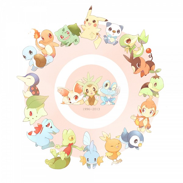 Tags: Anime, May (Pixiv Id 233774), Pokémon, Bulbasaur, Mudkip, Chimchar, Chespin, Totodile, Squirtle, Treecko, Froakie, Cyndaquil, Snivy