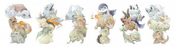 Tags: Anime, Pixiv Id 1099191, Pokémon, Mudkip, Chimchar, Chespin, Totodile, Snivy, Squirtle, Treecko, Froakie, Cyndaquil, Oshawott