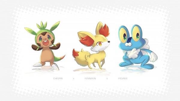 Tags: Anime, Pixiv Id 4470643, Pokémon, Chespin, Froakie, Wallpaper, Fanart, Fanart From Pixiv, Pixiv, Starter Pokémon